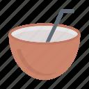 coconut, juice, drink, straw, fruit