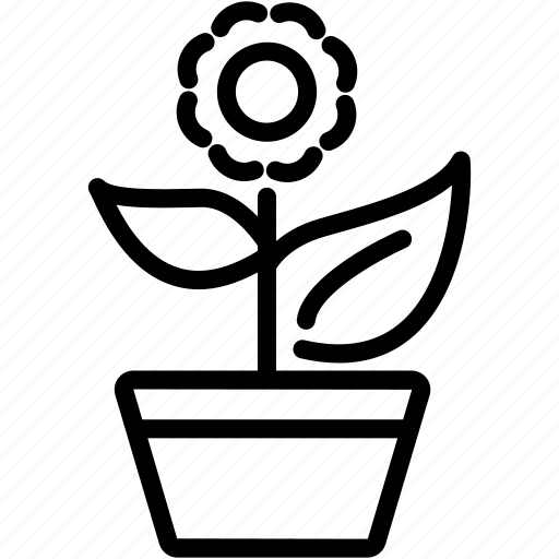 ecology, flower, green, leaf, nature, plant, pot icon