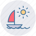 boat, motorboat, nature, sea, summer, sun, water icon