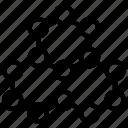 atom, chain, combo, molecule, proton, research, science icon