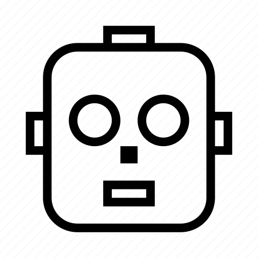 android, face, head, robot, robotic icon