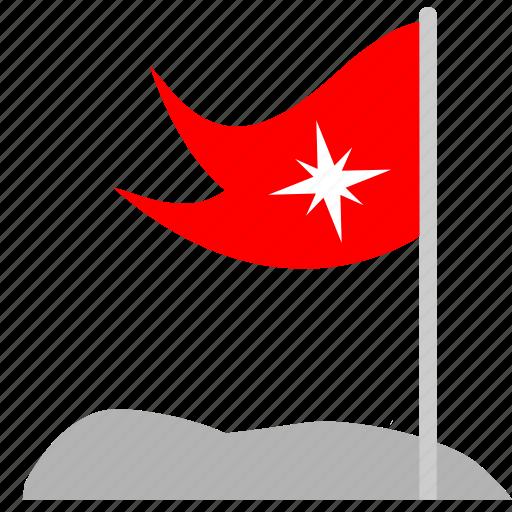 flag, mountain, point, red, tourism, way icon