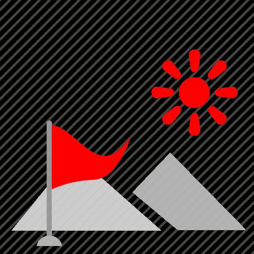 flag, mountain, nature, sun, tourism icon