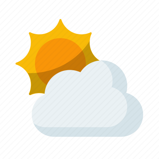 cloud, cloudy, partly, sunny, weather icon