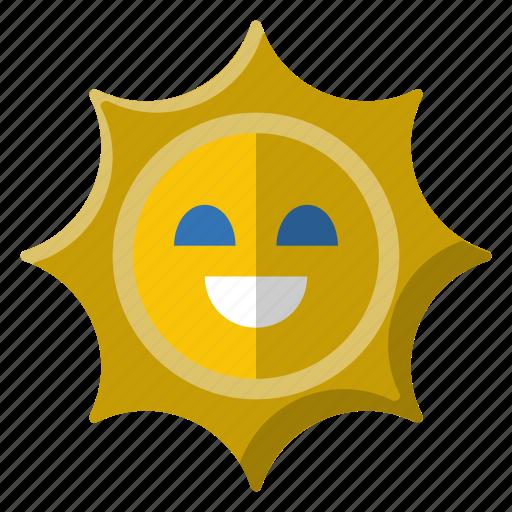 bright, energy, face, shining, smile, solar, sun icon