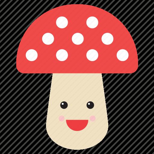 emoji, emoticon, face, food, mushroom, nature, smiley icon