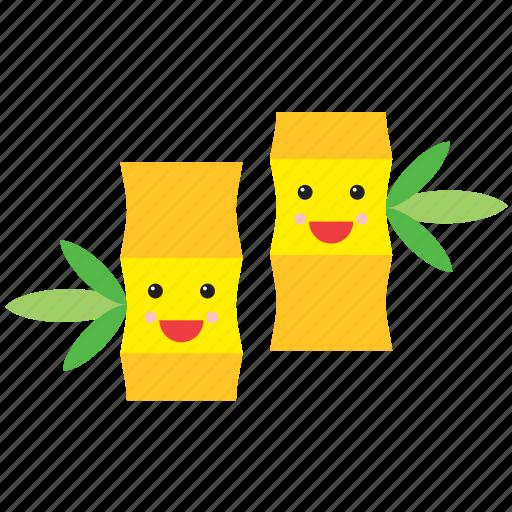 bamboo, emoji, emoticon, face, nature, plant, smiley icon