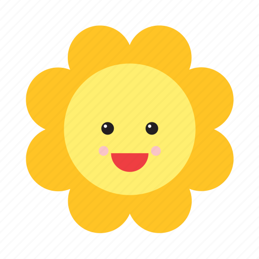 emoji, emoticon, face, flower, nature, smiley, sunflower icon