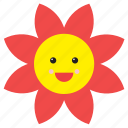 daisy, emoji, emoticon, face, flower, nature, smiley icon