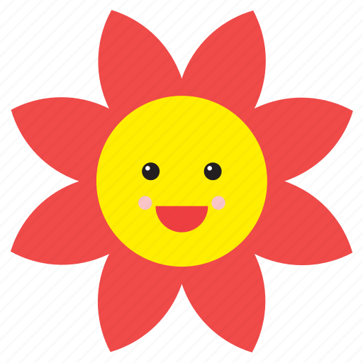 daisy, emoji, emoticon, face, flower, nature, smiley icon