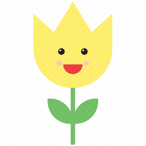 emoji, emoticon, face, flower, nature, smiley, tulip icon