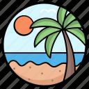 beach view, beachside, coconut tree, seaside, tropical tree icon