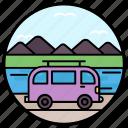 camper van, conveyance, picnic van, transport, van icon