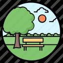 garden, landscape, lawn, park, park view icon