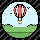 adventure, aircraft, fire balloon, hot air balloon, parachute airship icon