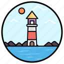 lighthouse, lighthouse tower, sea lighthouse, sea tower, tower house, watchtower icon