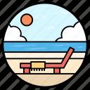 beach bed, beach chair, beach cot, beach deck, deck chair icon