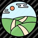 agriculture, farm fields, farmland, fields, forestland icon