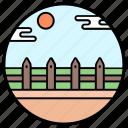 barrier, farm fence, farmhouse, garden barricade, gate, wooden fence, yard fence icon