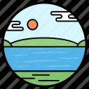 natural lake, ocean, river, seaside, seaview icon