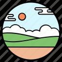 agriculture, farm fields, farming, fields, forestland icon