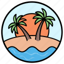 beach view, beachside, coconut trees, seaside, tropical trees icon