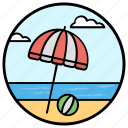 beach umbrella, canopy, parasol, rain protection, sun protection, sunshade icon