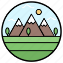 hill station, hilly place, landscape, mountain range, painting icon