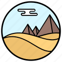 barren land, desert landscape, desert pyramid, desert view, natural landscape, sand desert, uncultivated land icon