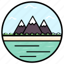 hill station, hilly place, landscape, mountain range, mountain view icon