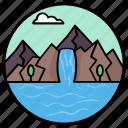 hill station, lake view, natural landscape, sea view, seashore, waterfall icon