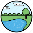 countryside, fields, forestland, lake view, landscape, riverside icon