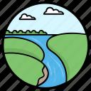 fields, forestland, island, lake view, riverside, waterfall icon
