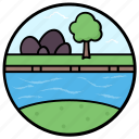 fields, forestland, island, lake view, riverside icon