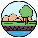 canal waterscape, fields, island, lake view, riverside icon