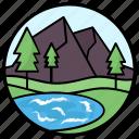 hill station, landscape, mountain range, mountain view, mountainous region icon