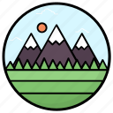 hill station, hilly place, landscape, mountain range, natural view icon