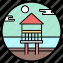 beach house, beach resort, cottage, dwelling, hut icon