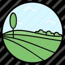 agriculture fields, crops fields, farm fields, farming, forestland, garden, park icon