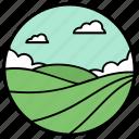 agriculture fields, crops fields, farming, forestland, garden, park icon