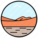 barren land, desert landscape, desert view, natural landscape, sand desert, uncultivated land icon