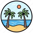 beach view, beachside, coconut trees, island, seaside, tropical trees icon