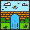 bridge, field, landscape, mountain, nature, outdoor, park icon