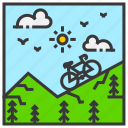 cycling, field, landscape, mountain, nature, outdoor, park