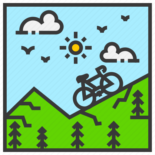 cycling, field, landscape, mountain, nature, outdoor, park icon