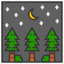 field, landscape, mountain, nature, outdoor, park, pines icon