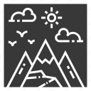 field, landscape, mountain, nature, outdoor, park, view icon