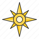 compass, nautical, north star, star icon