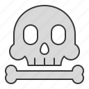 bone, danger, nautical, risk, skull icon