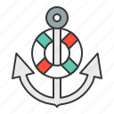 anchor, life ring, nautical, stop icon